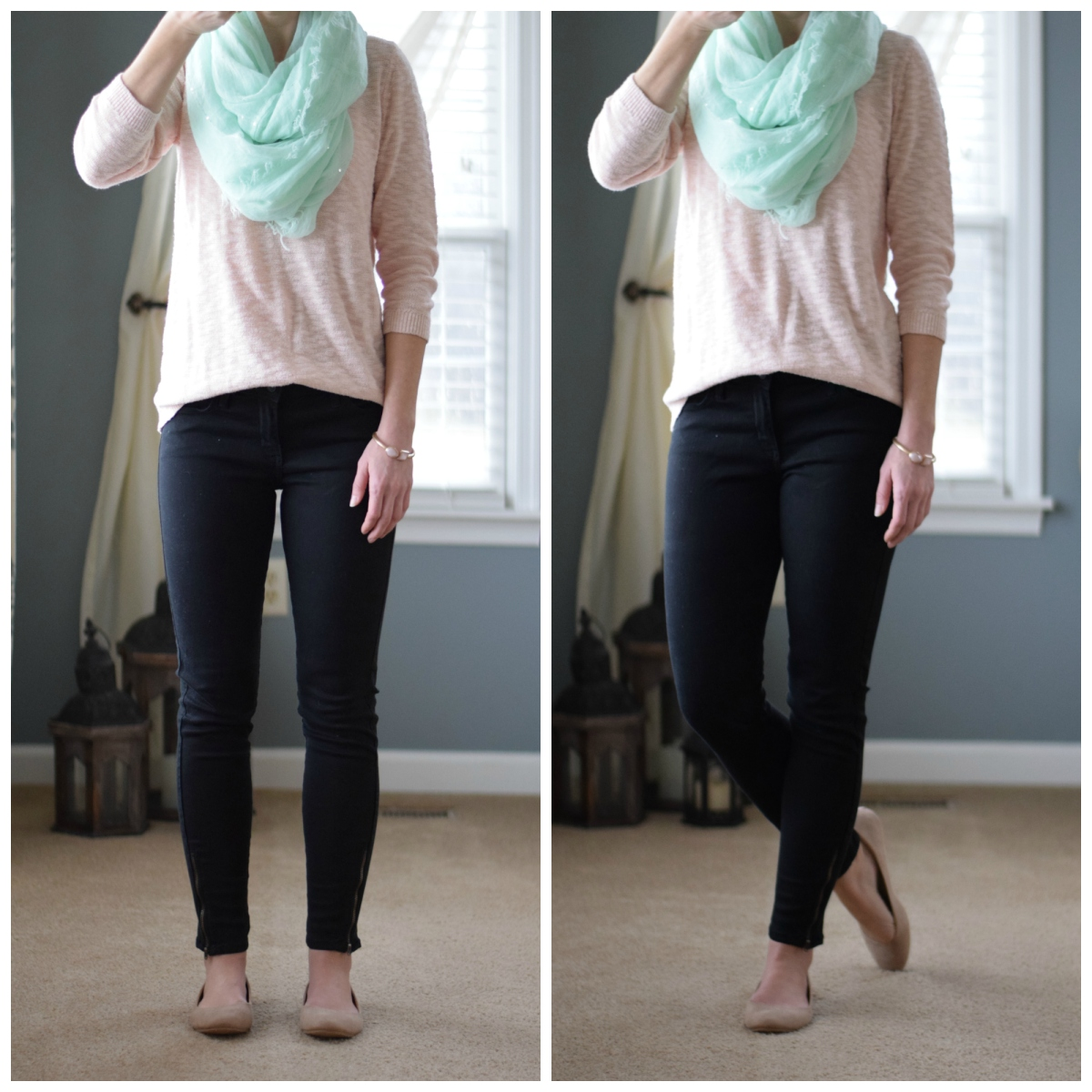 Break into spring slowly wih pops of pastel, like this mint scarf and blush sweater