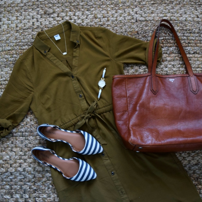Olive dress and navy striped flats