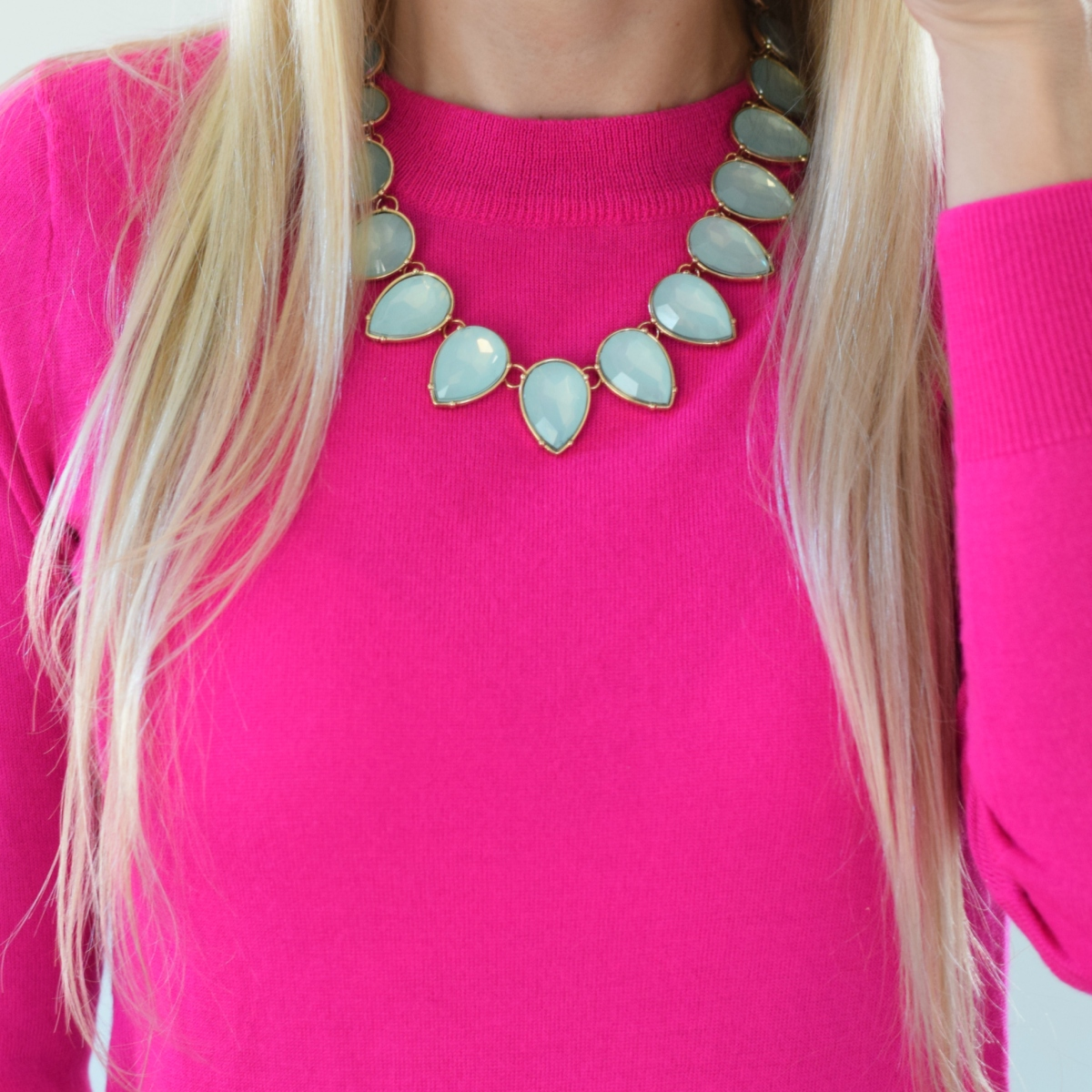 hot pink and seafoam green
