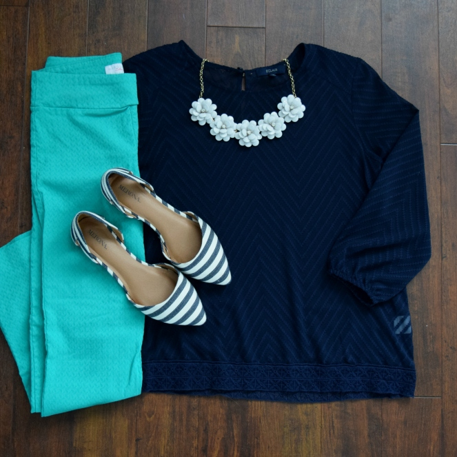 Navy, teal, and grey
