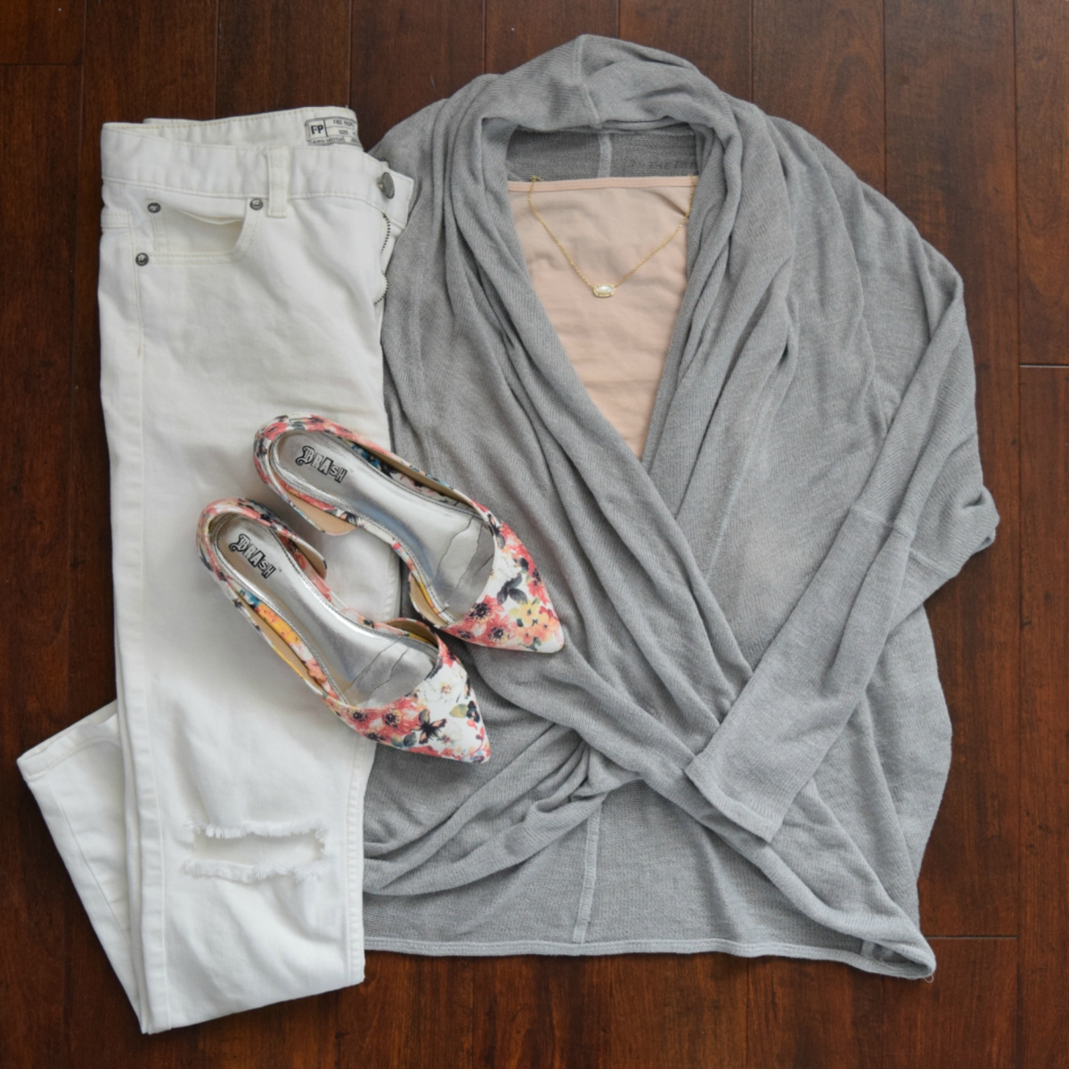 Wrap sweater, white skinnies, and floral flats