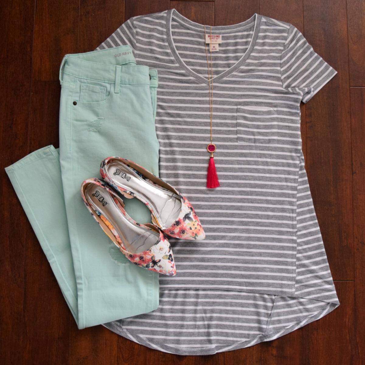 mint pants, stripes, floral flats, and tassels!
