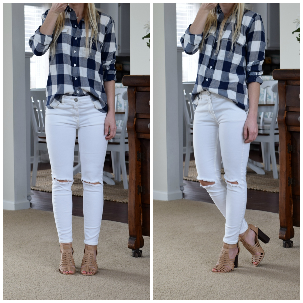 gingham, white skinny jeans, and mules |www.pearlsandsportsbras.com|