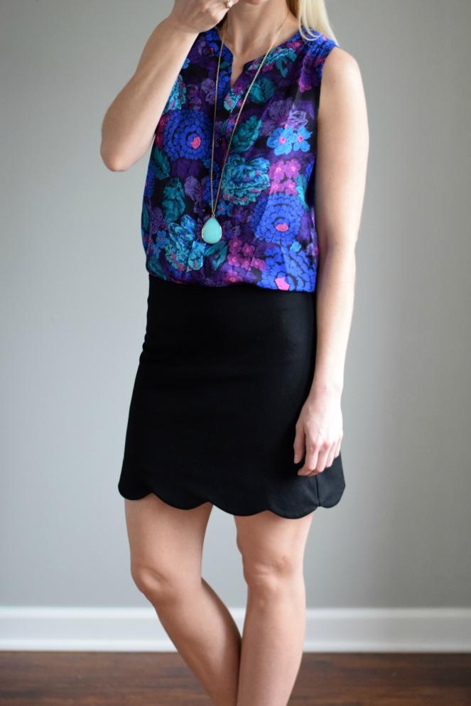 April 2016 Stitch Fix: 41Hawthorn Ava Floral Print Silk Henley Blouse |www.pearlsandsportsbras.com|