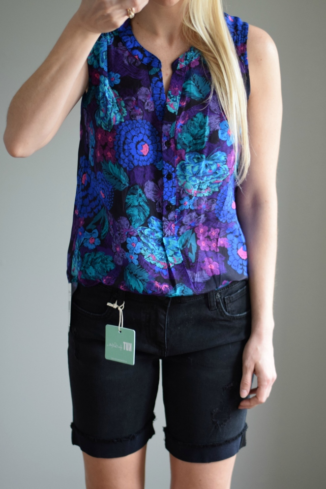 April 2016 Stitch Fix: 41Hawthorn Ava Floral Print Silk Henley Blouse and Kut From the Kluth Lonnie Distressed Boyfriend Short |www.pearlsandsportsbras.com|