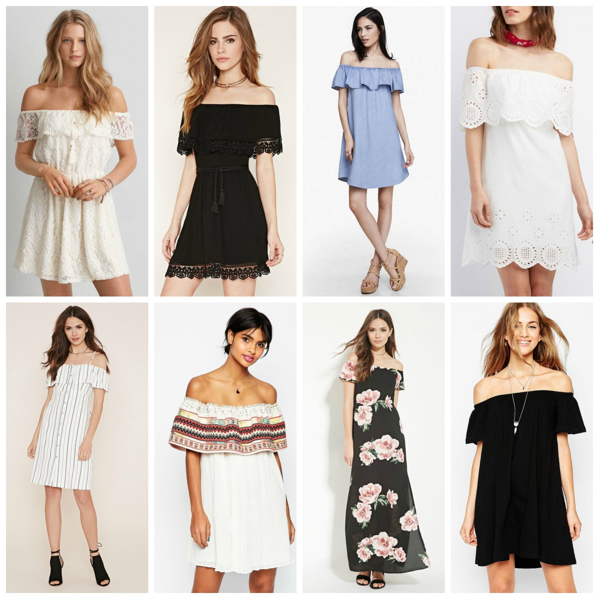 Favorites Friday: Off-the-shoulder dresses |www.pearlsandsportsbras.com|