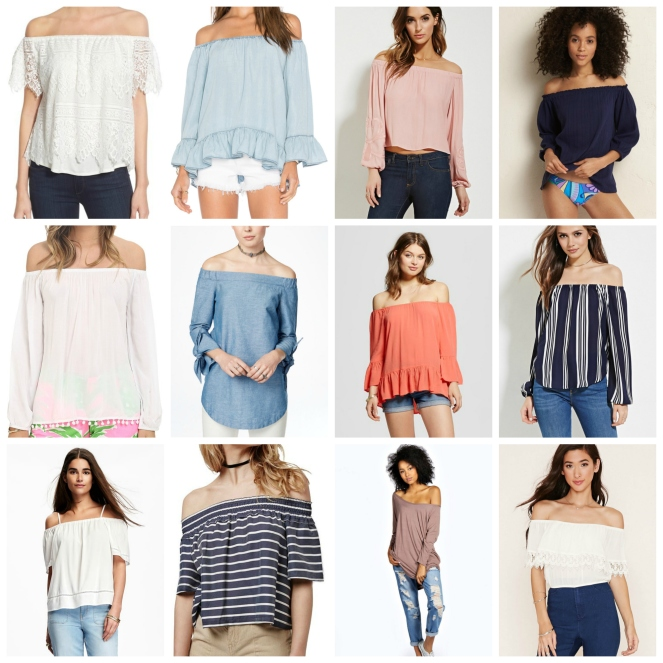 Favorites Friday: Off the Shoulder tops |www.pearlsandsportsbras.com|