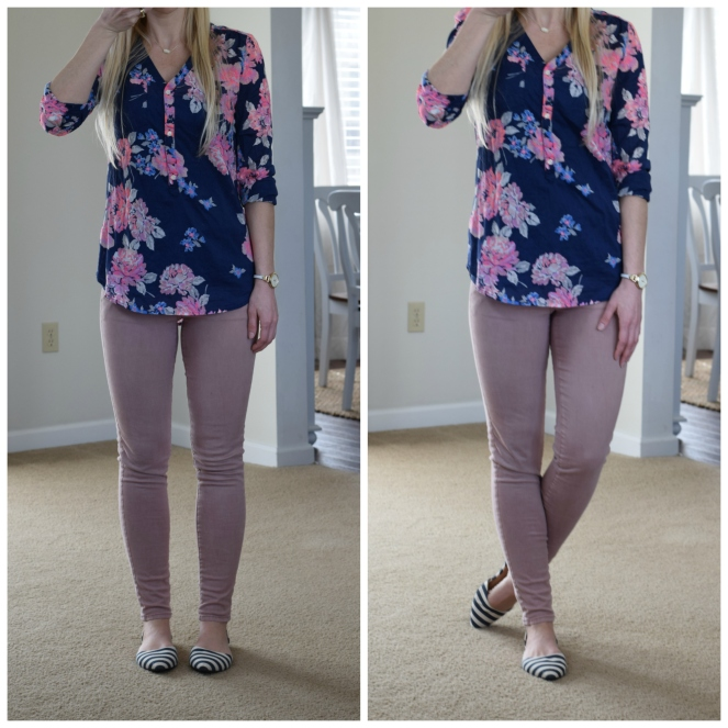 Floral top, pink skinny jeans, and stripe flats  www.pearlsandsportsbras.com 