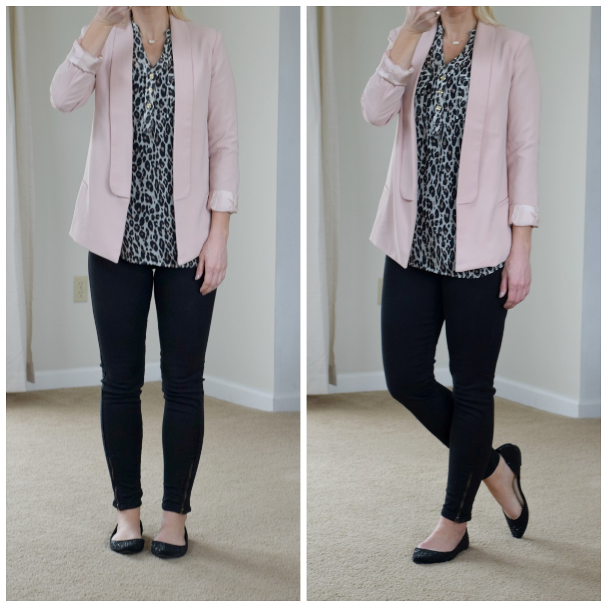 Pink blazer, leopard blouse, and sparkly flats |www.pearlsandsportsbras.com|