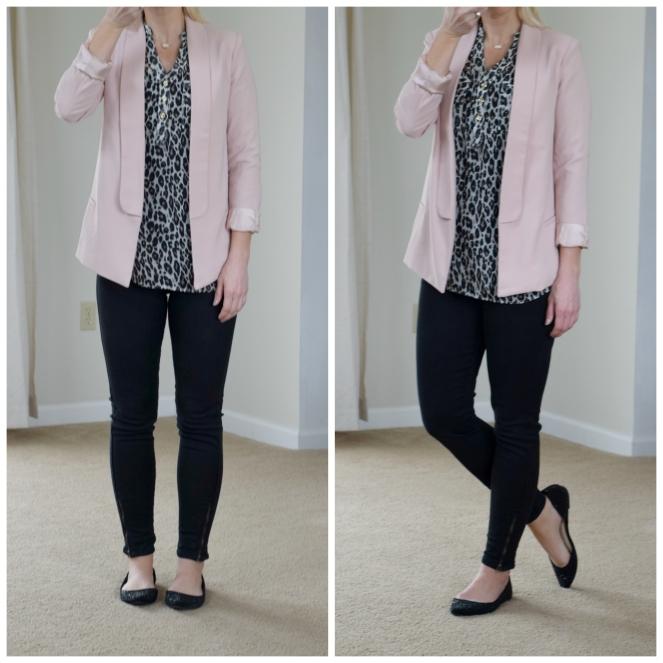 Pink blazer, leopard blouse, and sparkly flats  www.pearlsandsportsbras.com 