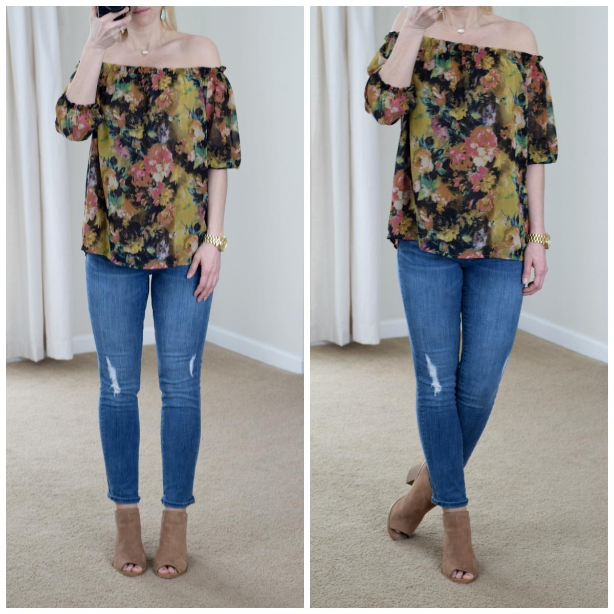 Floral off the shoulder, destroyed skinny jeans, and mules |www.pearlsandsportsbras.com|