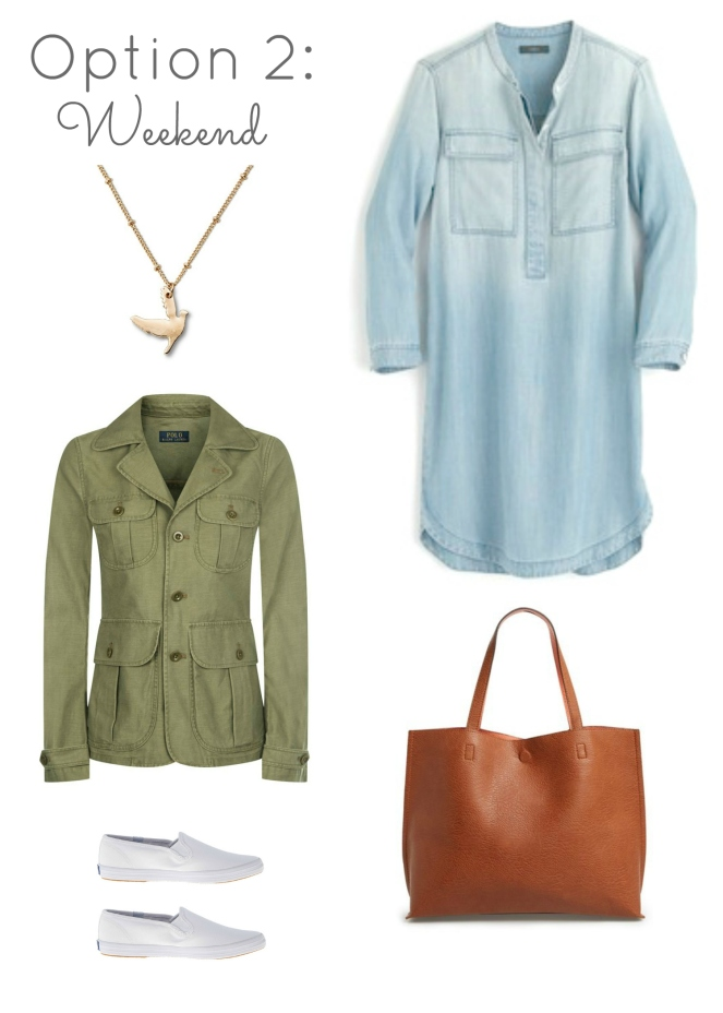 Chambray Dress 3 Ways: Weekend look |www.pearlsandsportsbras.com|