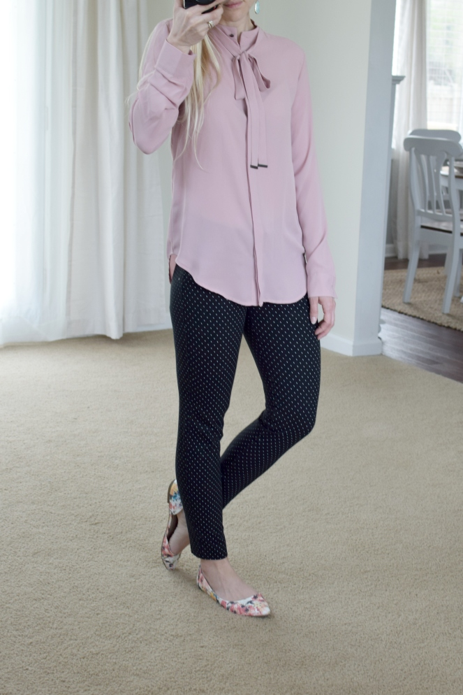 pink tie blouse, polka dot pants, and floral flats |www.pearlsandsportsbas.com|