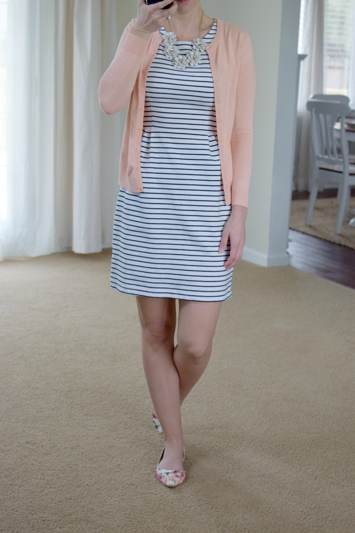 stripe dress, coral, and floral accents  www.pearlsandsportsbras.com 