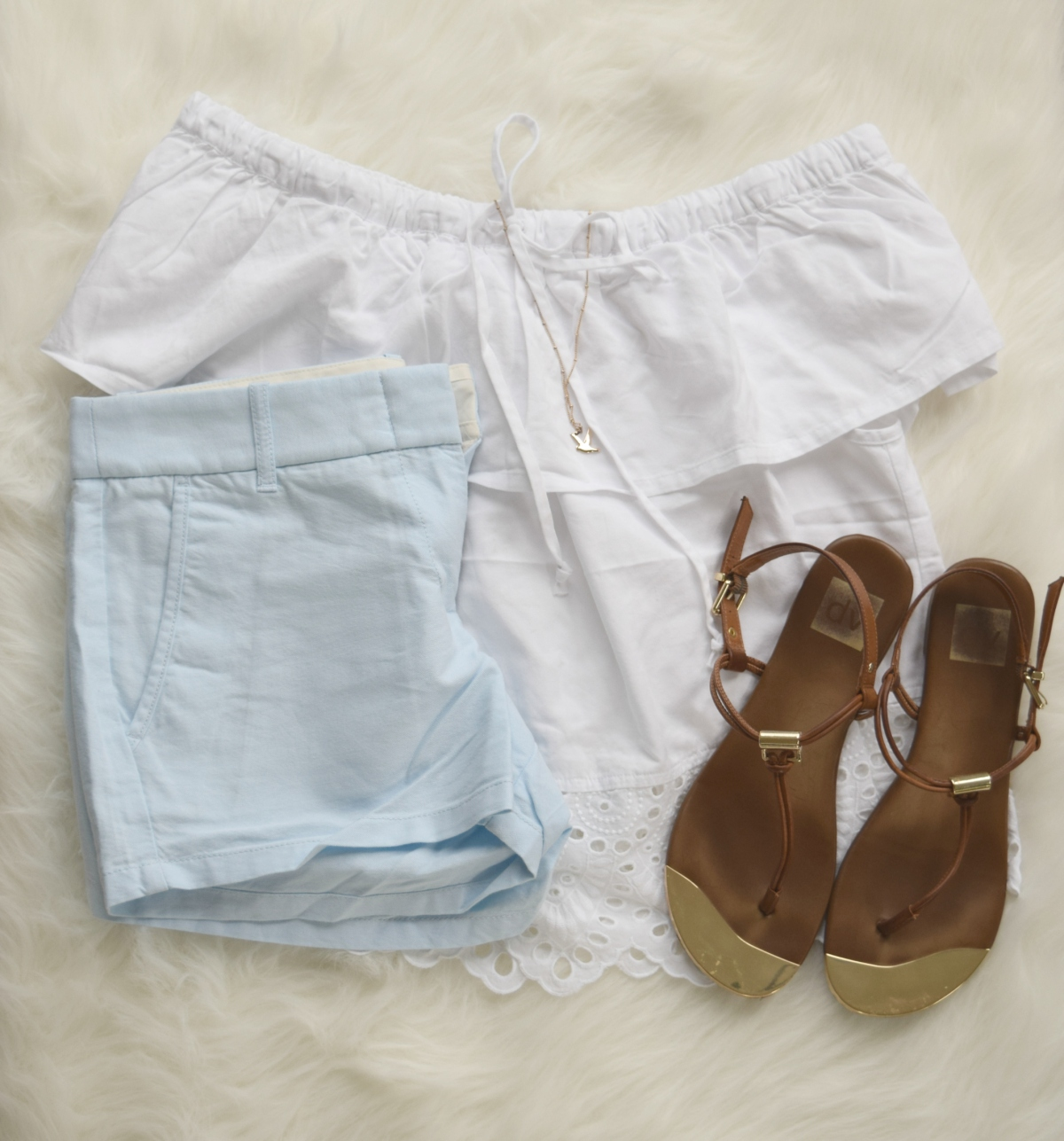 Eyelet white off the shoulder top and baby blue shorts  www.pearlsandsportsbras.com 