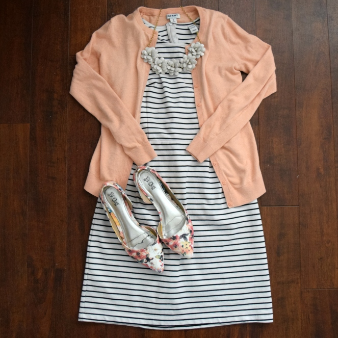 stripe dress, coral, and floral accents |www.pearlsandsportsbras.com|