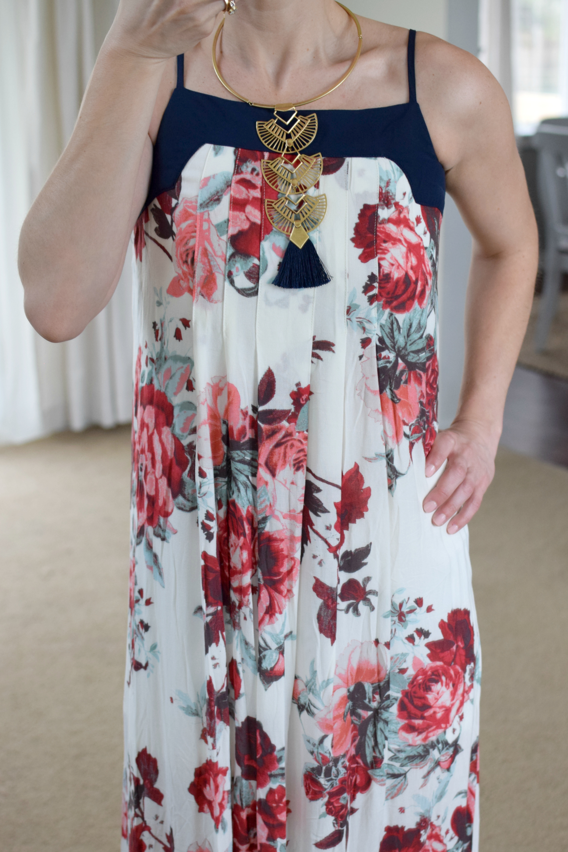 floral maxi and statement necklace |www.pearlsandsportsbras.com|