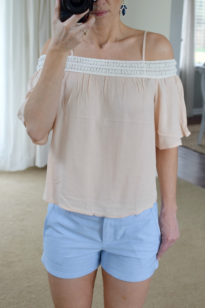 pink off the shoulder and blue linen shorts |www.pearlsandsportsbras.com|