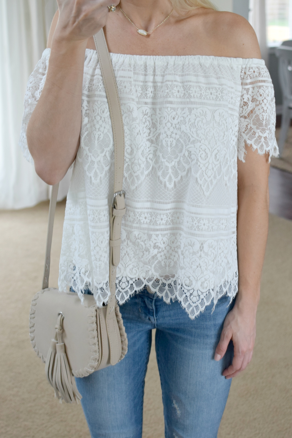 lacey off the shoulder, destroyed crops, white wedges, and fringe purse |www.pearlsandsportsbras.com|
