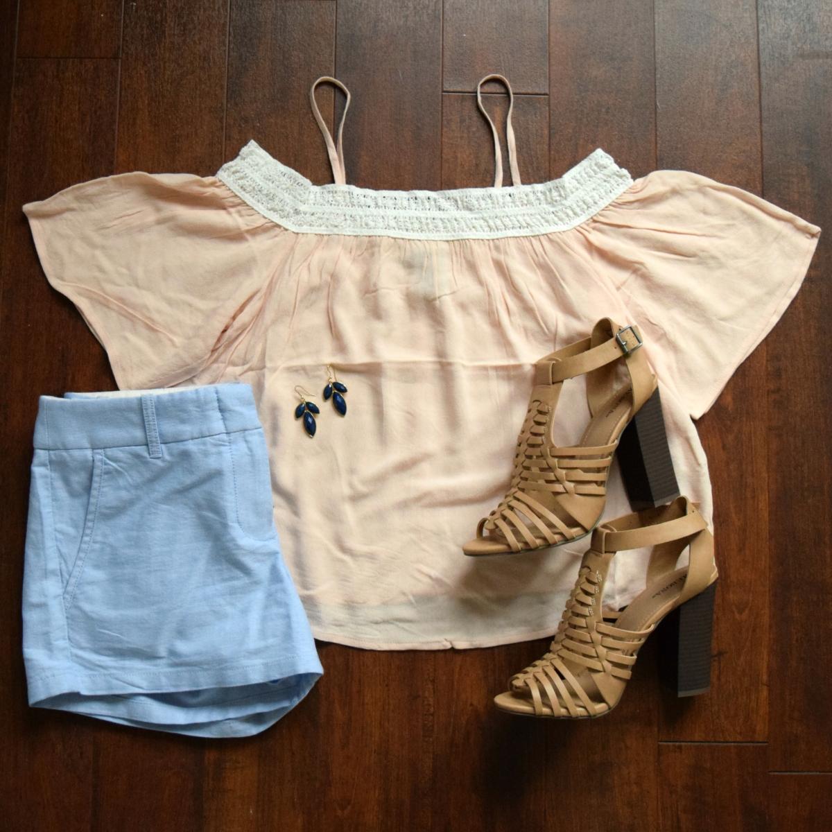 pink off the shoulder and blue linen shorts |www.pearlsandsportsbras.com|