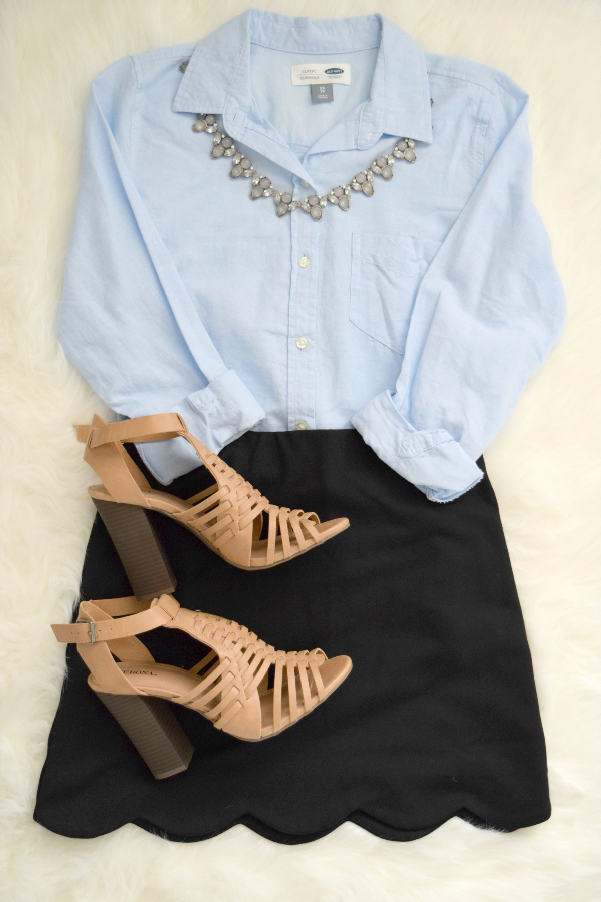 Casual sexy: classic buttondown with a scallop-hem skirt and nude heels |www.pearlsandsportsbras.com|