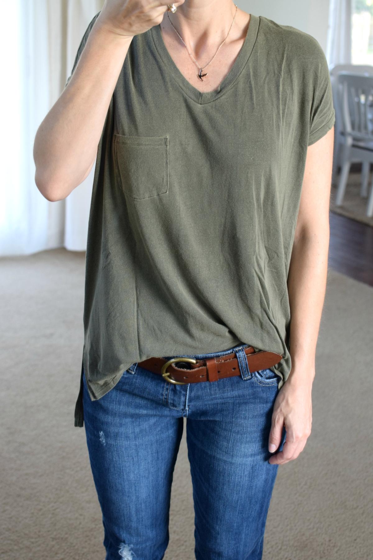 Flowy top and boyfriend jeans  www.pearlsandsportsbras.com 