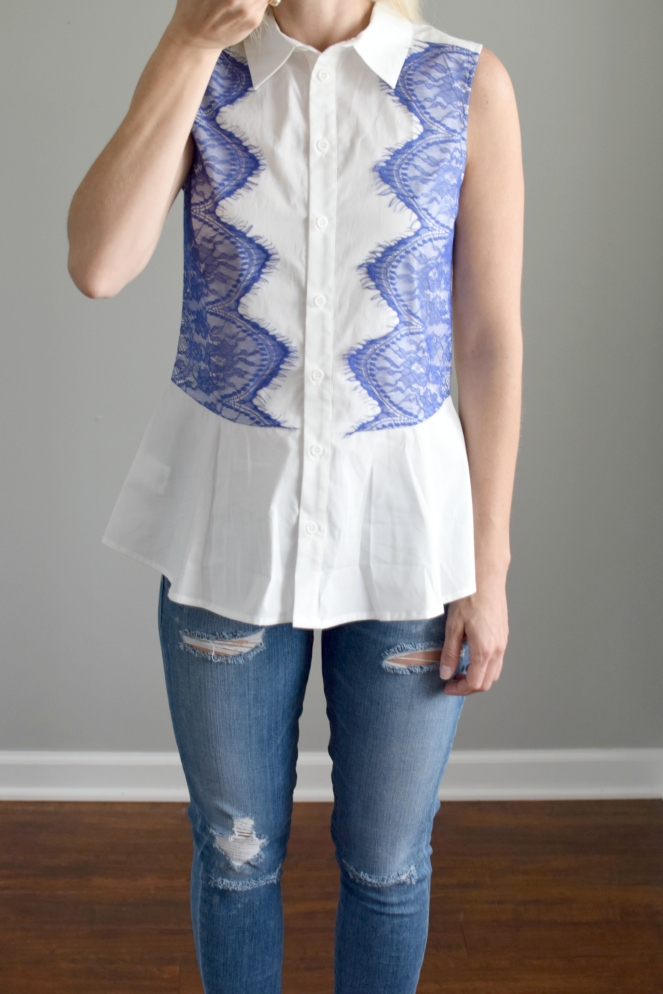 June 2016 Stitch Fix Review: Pixley Rivero Button-Down Blouse |www.pearlsandsportsbras.com|