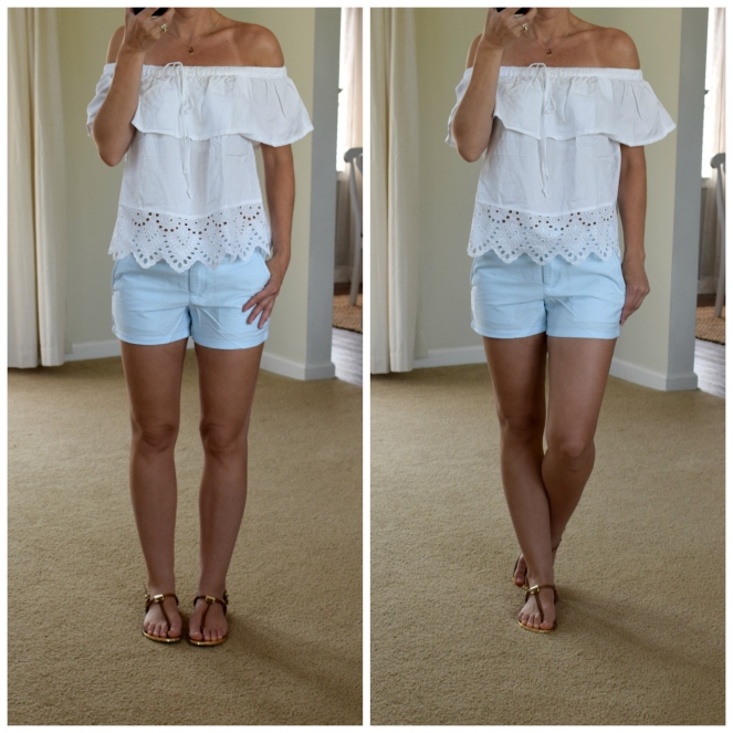 Eyelet white off the shoulder top and baby blue shorts |www.pearlsandsportsbras.com|