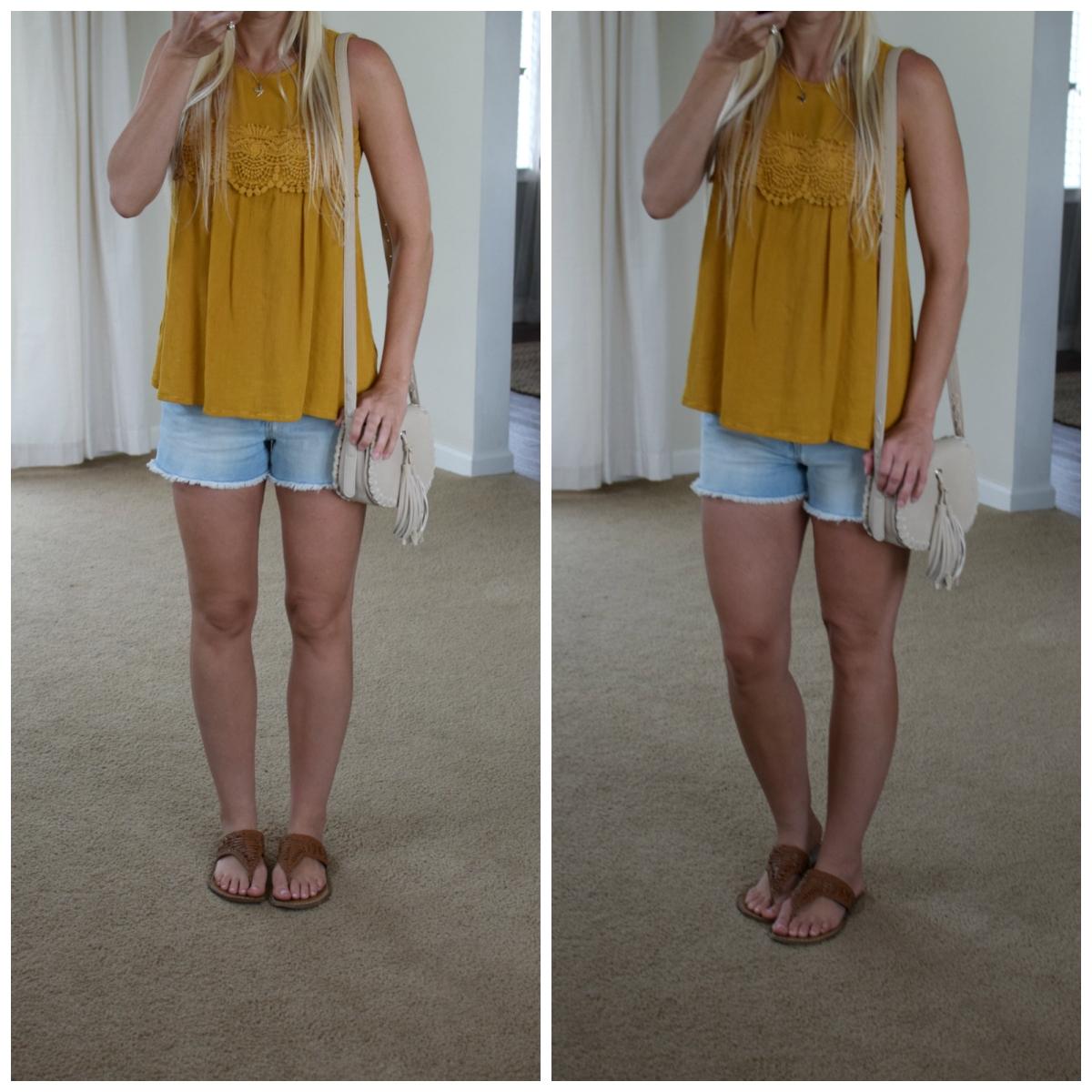 Nothing says summer like a flowy boho top and cutoff shorts  www.pearlsandsportsbras.com 