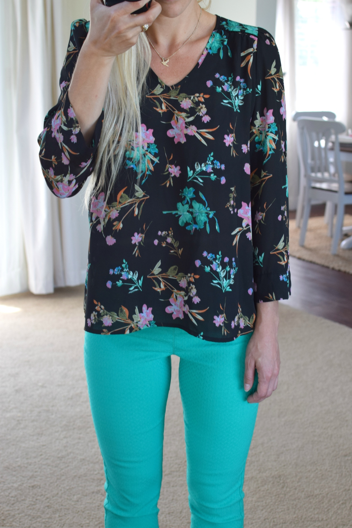 Tropical floral top and teal skinnies for a summer work look |www.pearlsandsportsbras.com|