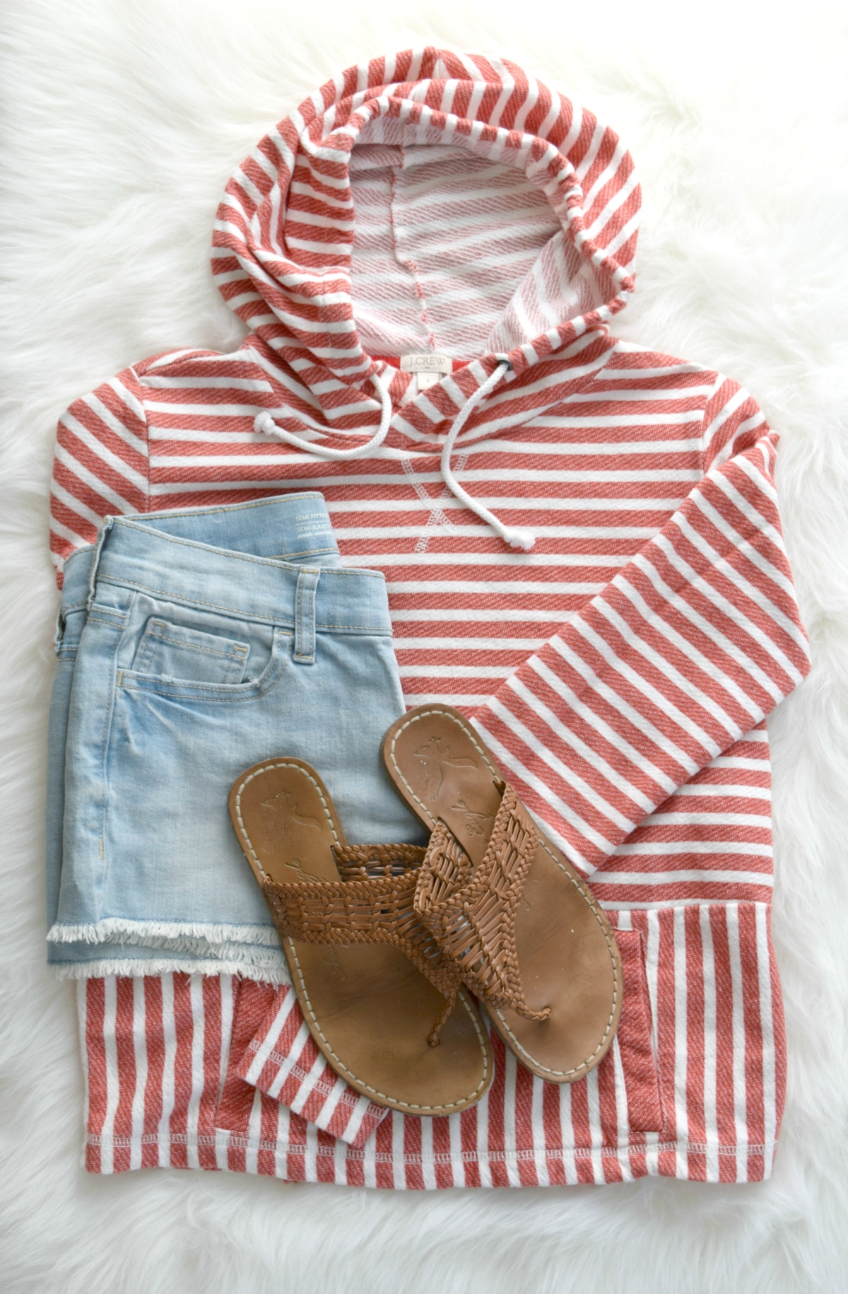 Striped pullover and cutoff shorts for a beachy evening look |www.pearlsandsportsbras.com|