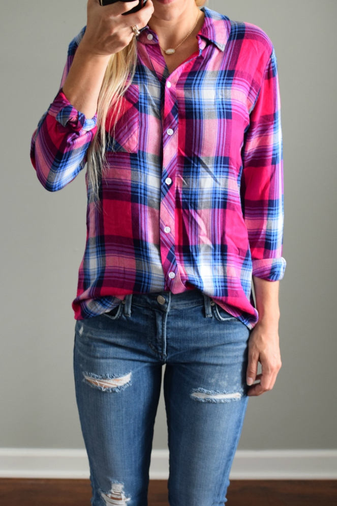 Fashion Influencer Pink Plaid Flannel Shirt |www.pearlsandsportsbras.com|