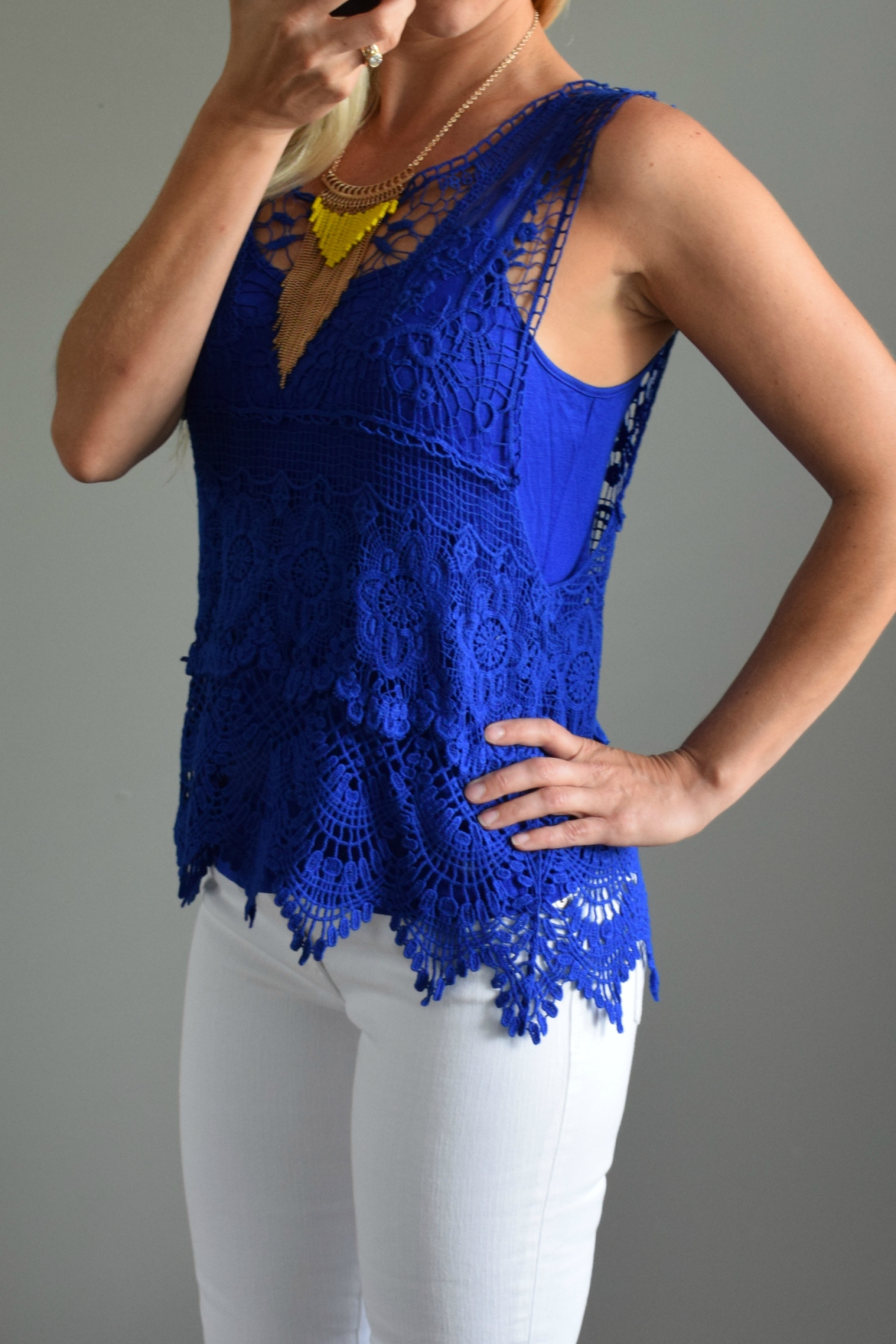 June 2016 Stitch Fix Review: Skies are Blue Wendelin Lace Overlay Top |www.pearlsandsportsbras.com|