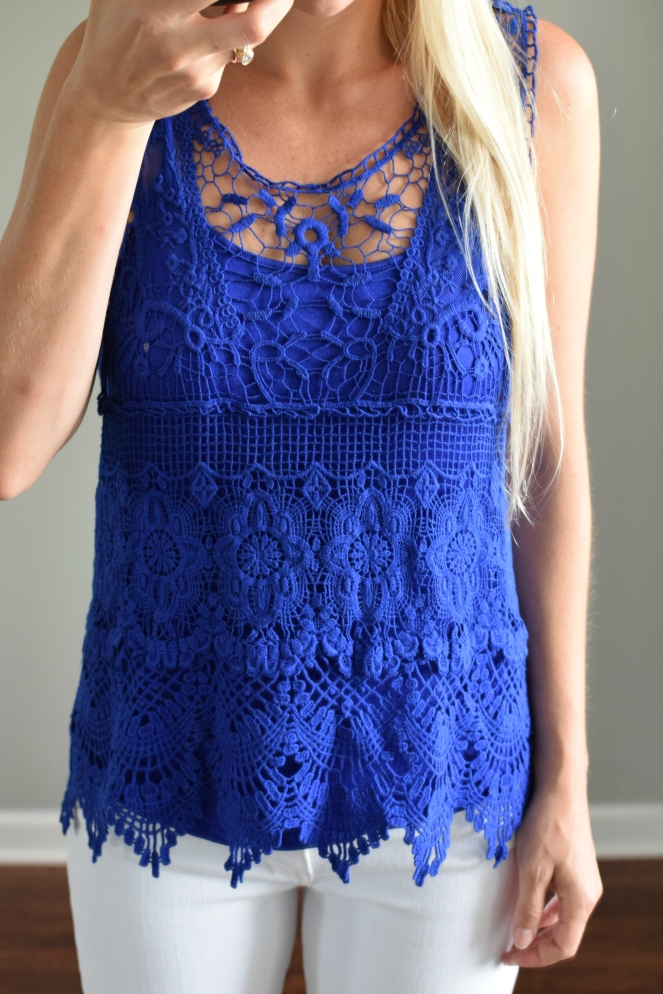 June 2016 Stitch Fix Review: Skies are Blue Wendelin Lace Overlay Top  www.pearlsandsportsbras.com 