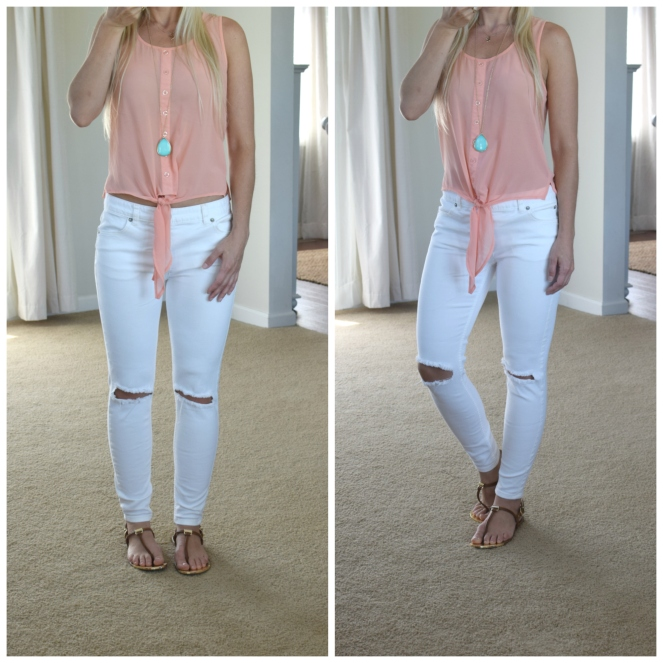 Tie tank, white skinny jeans, and a pop of turquoise - summer look |www.pearlsandsportsbras.com|