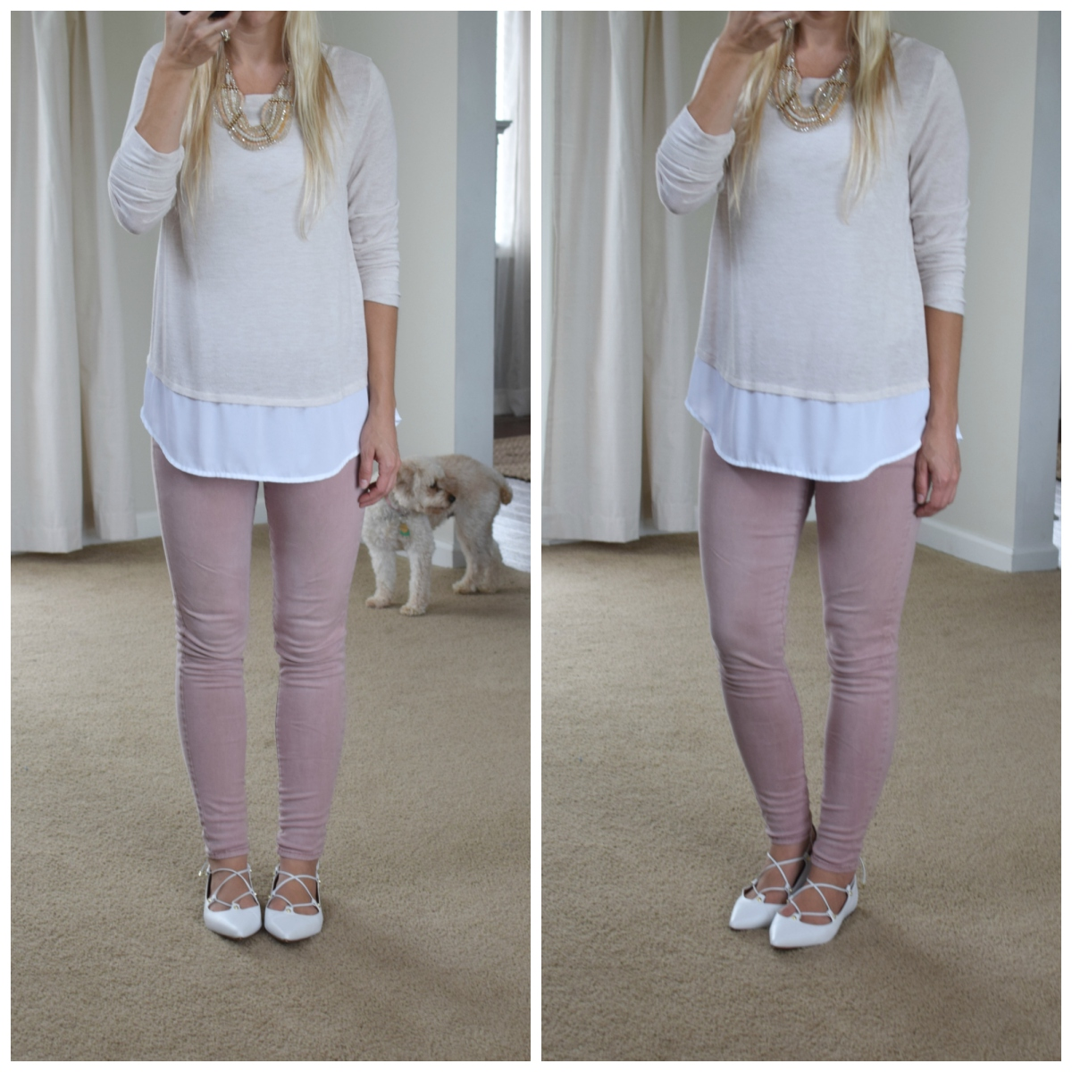 blush skinny jeans and a mixed media top with lace-up flats |www.pearlsandsportsbras.com|