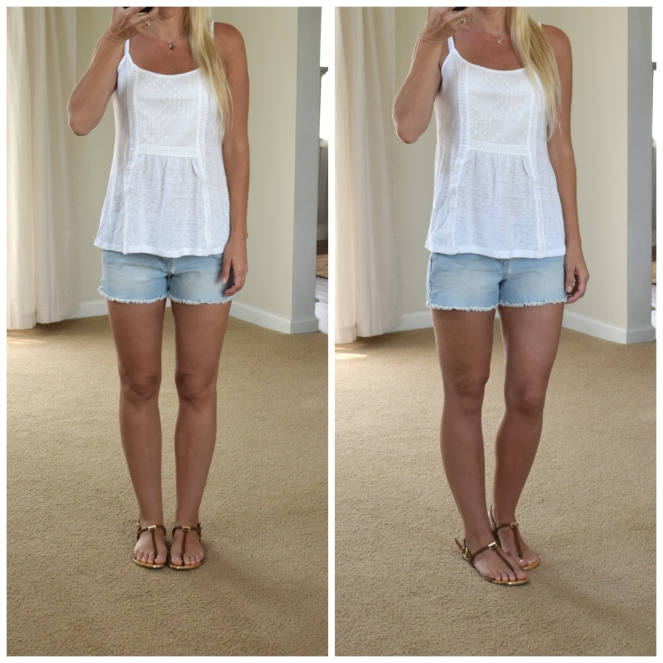 simple lace tank and cut-off shorts |www.pearlsandsportsbras.com|