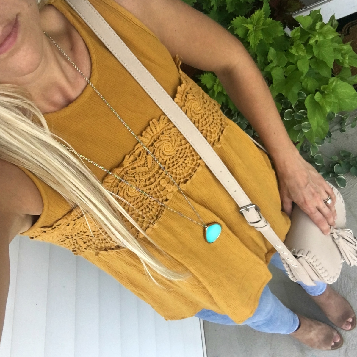 Marigold tank with mules and a pop of turquoise | www.pearlsandsportsbras.com |