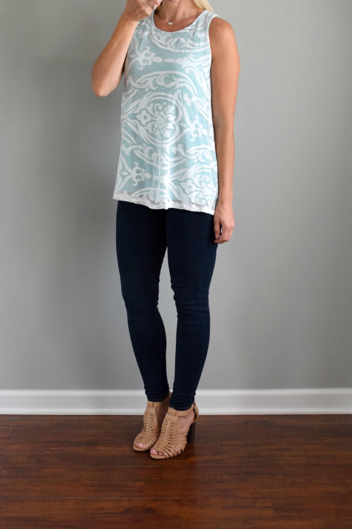 July 2016 Stitch Fix Review: Papermoon Veeta Lace Overlay Knit Top | www.pearlsandsportsbras.com |