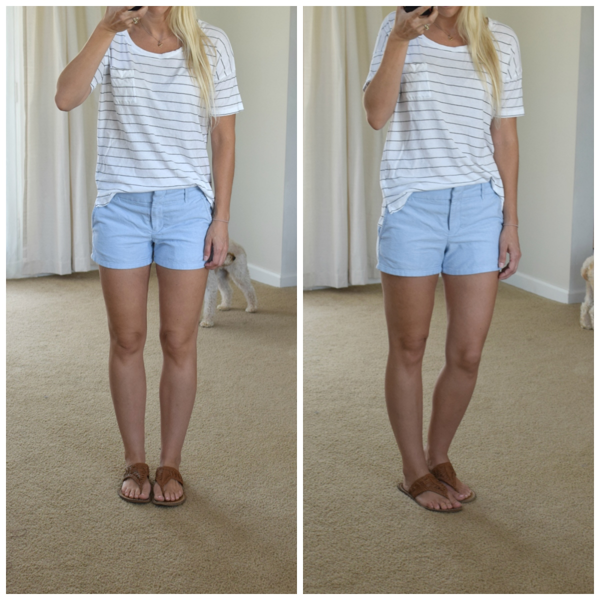 Simple striped tee and shorts | www.pearlsandsportsbras.com |