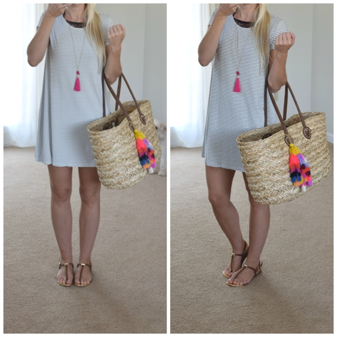 Easy stripe dress works double duty as a swimsuit cover-up |www.pearlsandsportsbras.com|
