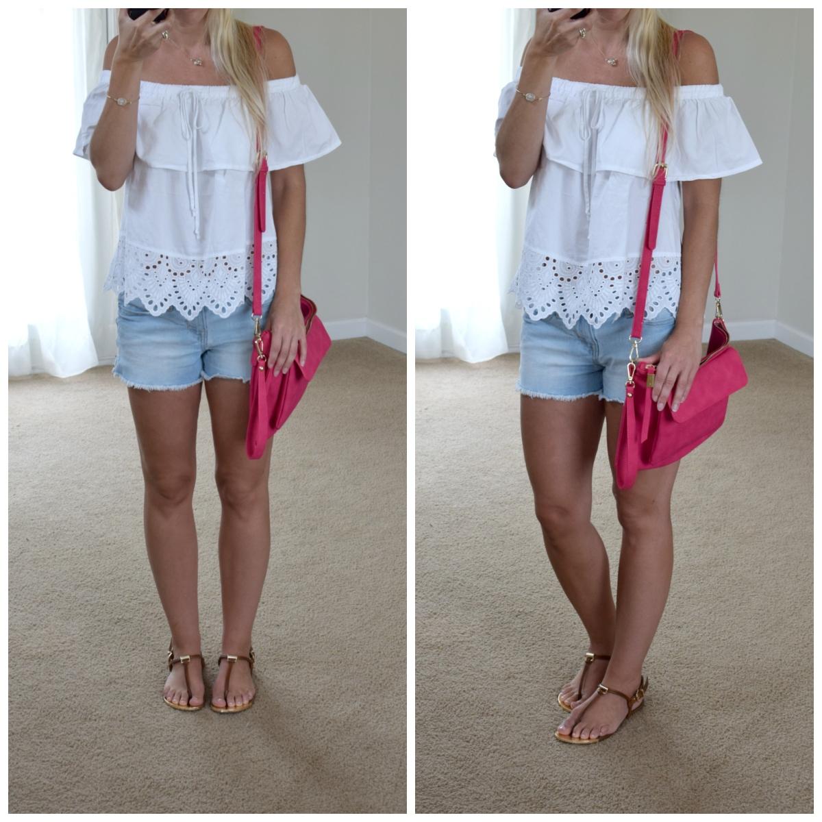 Off shoulder and hot pink for summer |www.pearlsandsportsbras.com|
