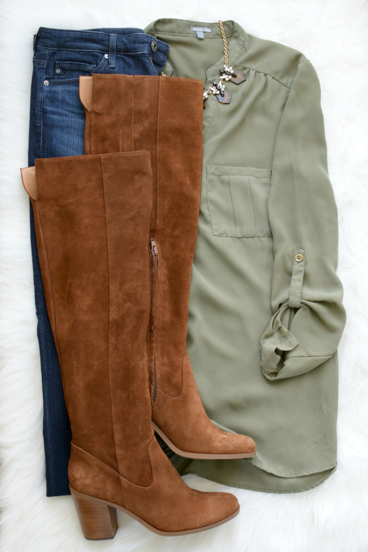 Olive and OTK boots for fall |www.pearlsandsportsbras.com|