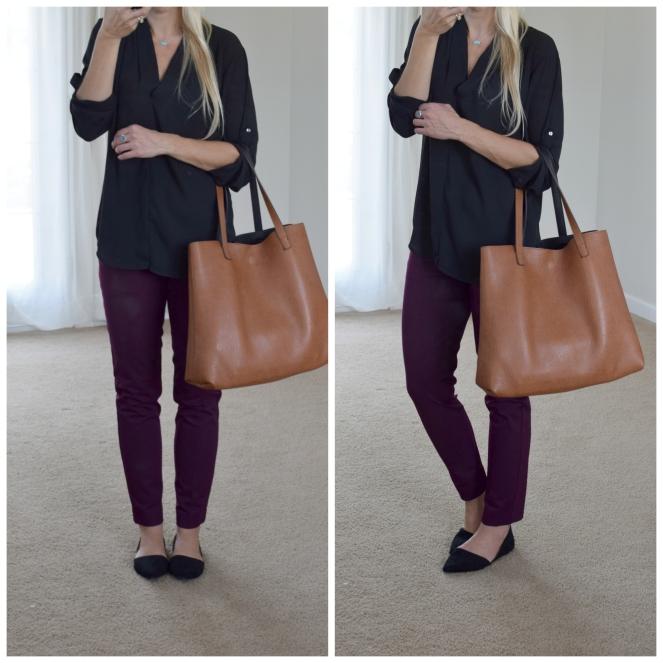Plum pants and d'orsay flats |www.pearlsandsportsbras.com|