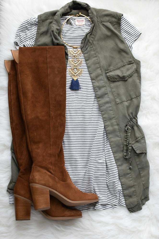 t-shirt dress and OTK boots |www.pearlsandsportsbras.com|