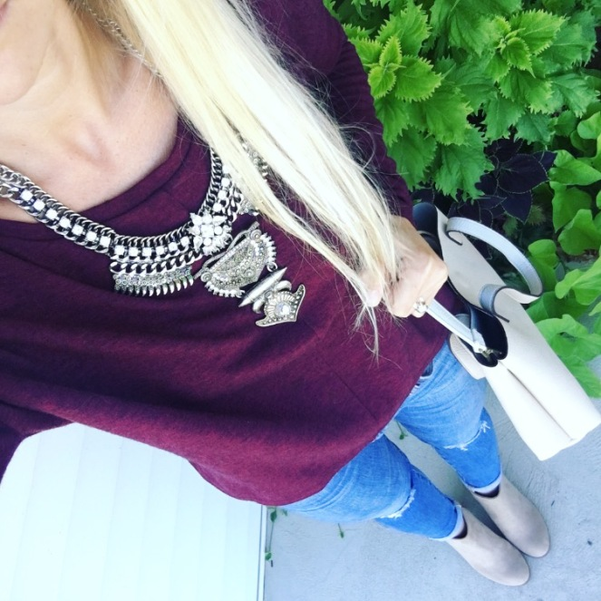 Burgundy, ankle booties, and a bold statement necklace |www.pearlsandsportsbras.com|