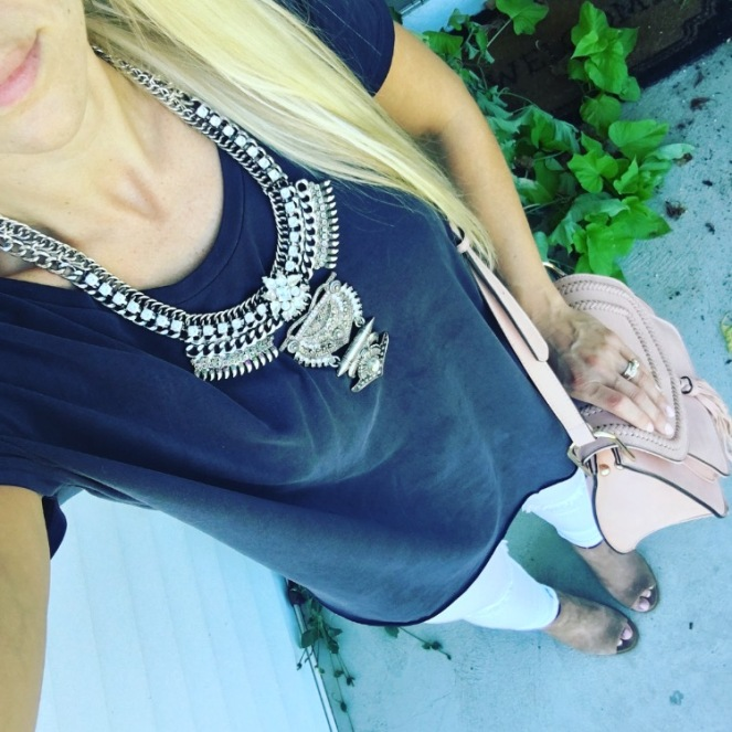 Casual with a bold statement necklace |www.pearlsandsportsbras.com|