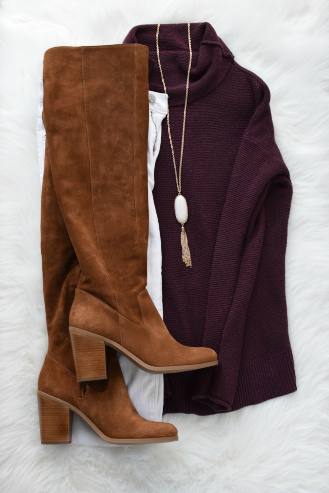 White and burgundy with OTK boots - perfect transition to fall outfit |www.pearlsandsportsbras.com|