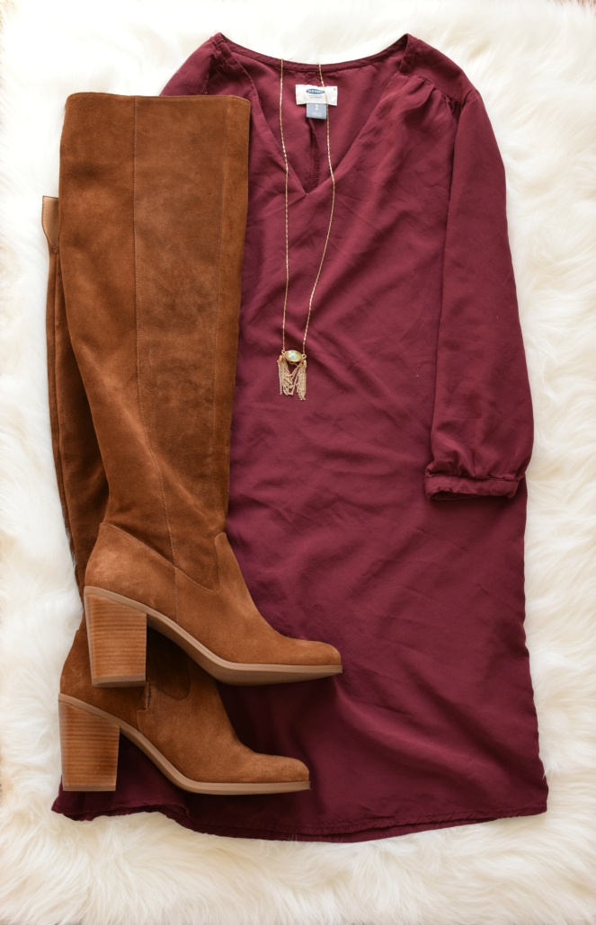 Burgundy shift dress and OTK boots - perfect transition to fall outfit |www.pearlsandsportsbras.com|