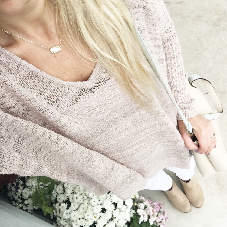 drapey sweater and ankle booties |www.pearlsandsportsbras.com|